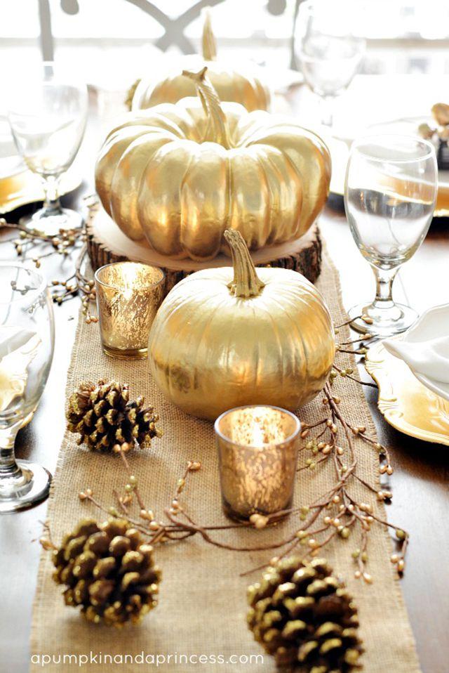 DIY Mini Gold Pumpkin Table Decor
