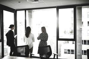 Businesswomen in discussion in office
