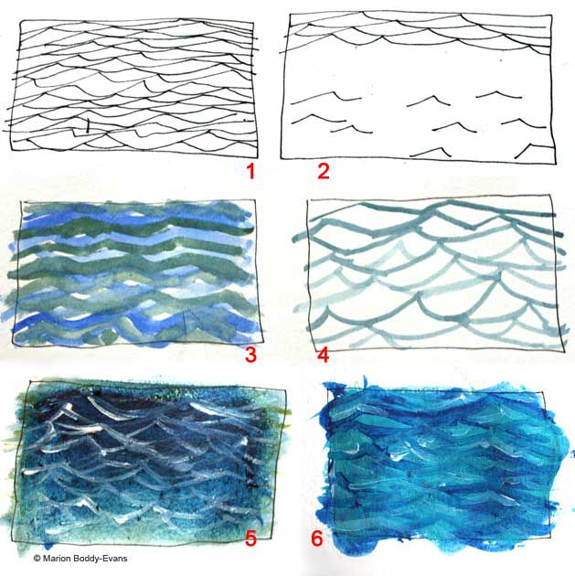 How to paint ripples on the oceans