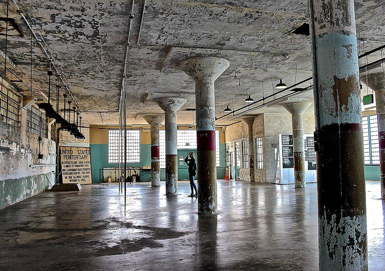 Interior of Alcatraz US federal penitentiary.