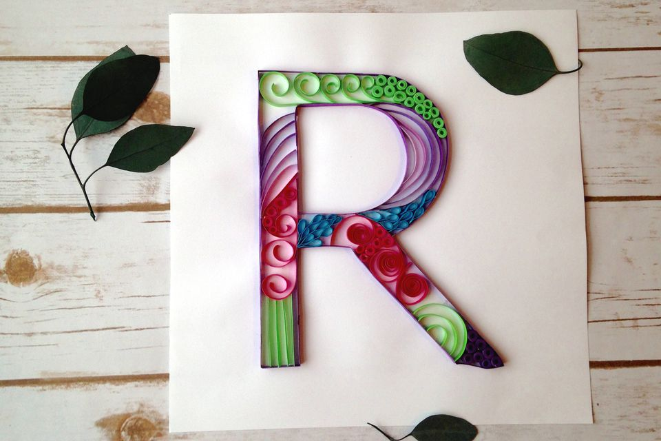 How to make a paper quilled monogram letter r quilled monogram altavistaventures Images