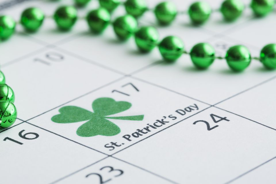 St. Patricks Day marked with shamrock in calendar