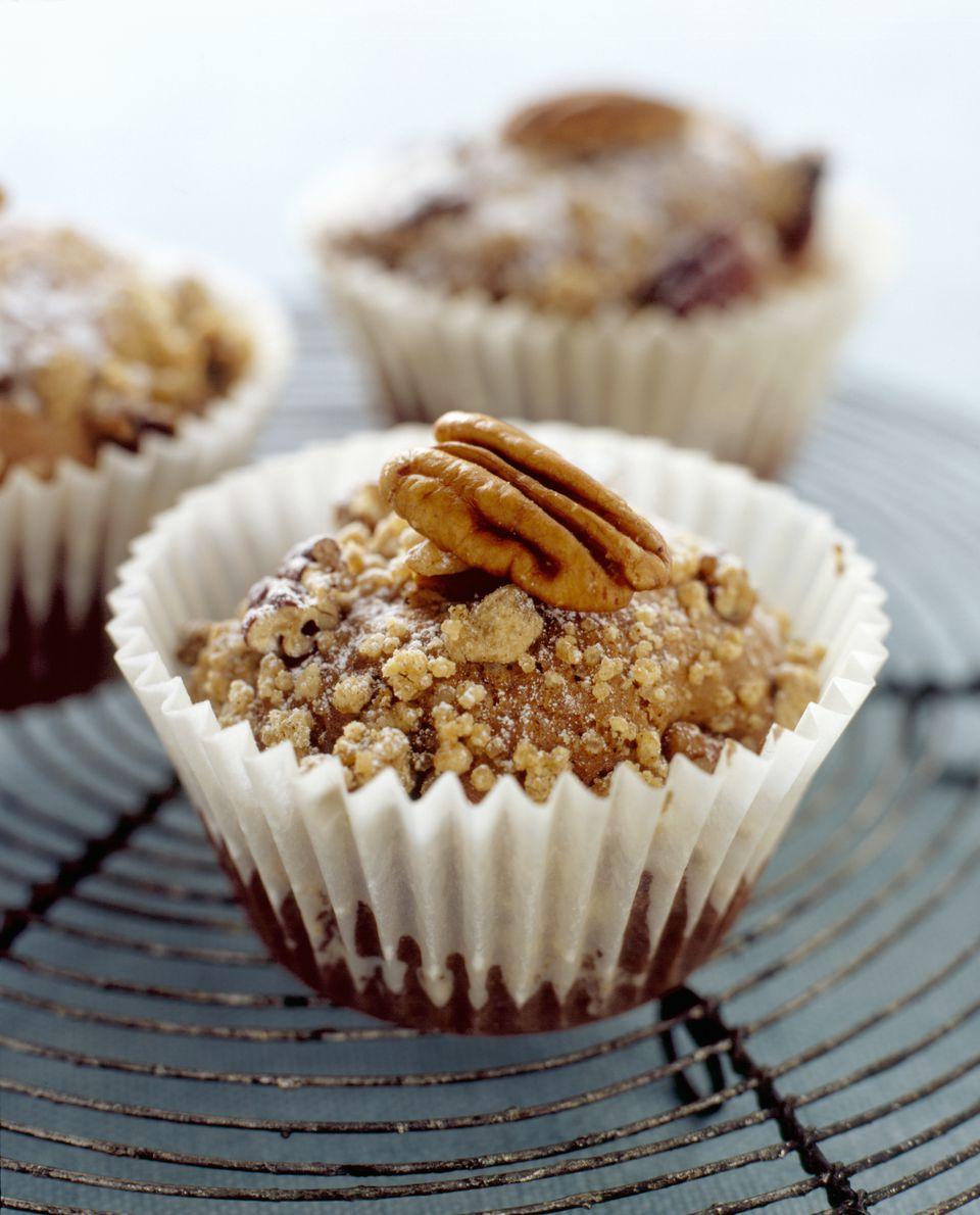 Three pecan muffins, close-up
