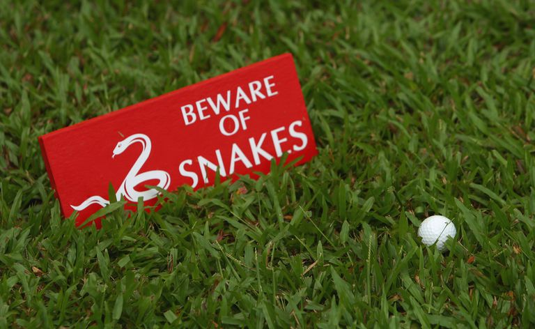 A sign warning of snakes is seen during the practice round of Maybank Malaysian Open