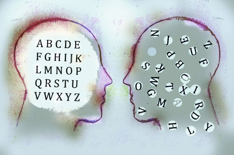 Alphabet inside of men's heads face to face contrasting order and chaos