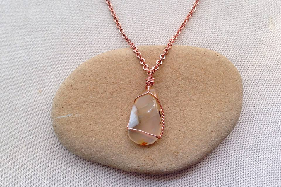 niche stone crystal in gemstone necklaces wire healing htm and tumbled wrapped a wired row handmade necklace hanging