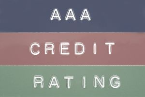 "Blue, red and green sign with words ""AAA Credit Rating"""
