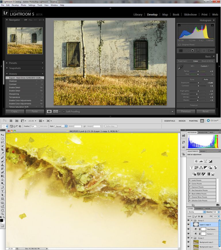 Photoshop and Lightroom screen shots