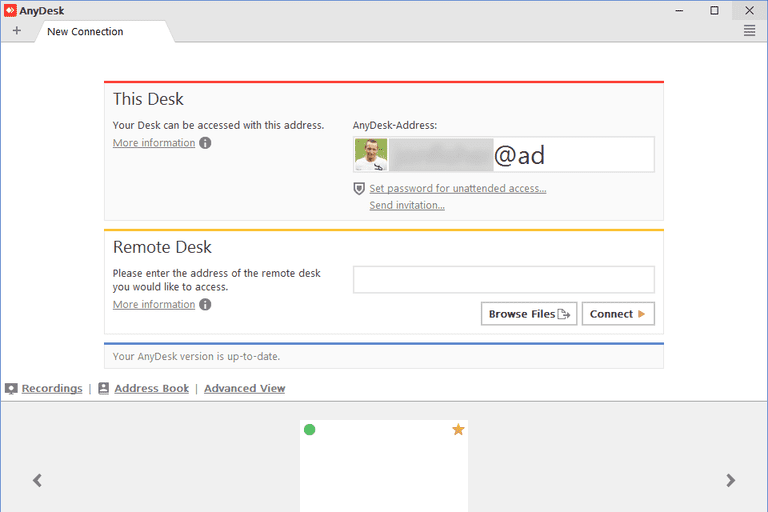Screenshot of AnyDesk in Windows 8