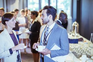 professionals at networking event