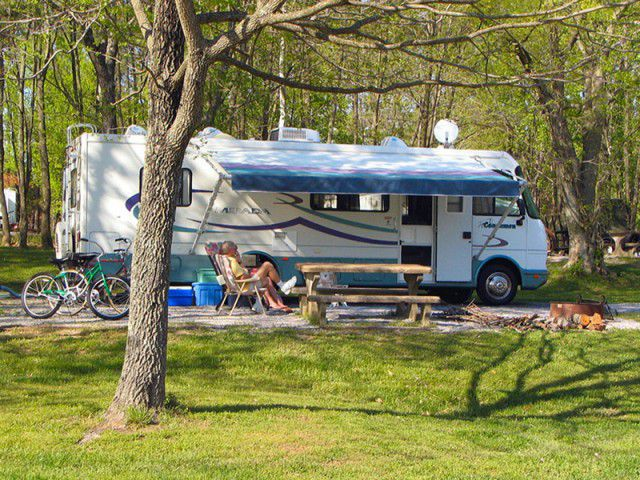 recreational vehicle in camping spot