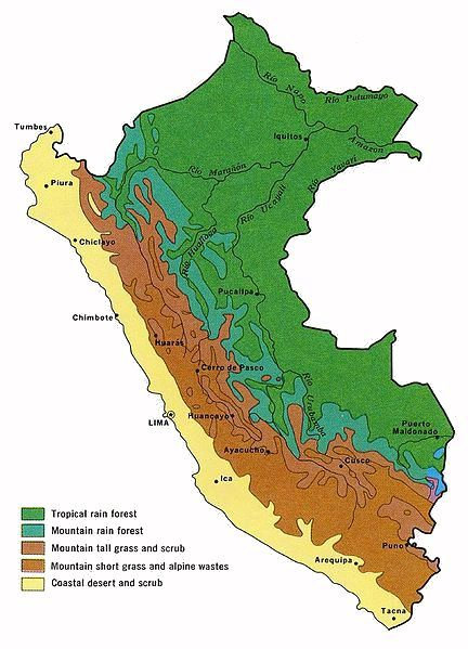 Different Maps Of Peru - Physical map of peru