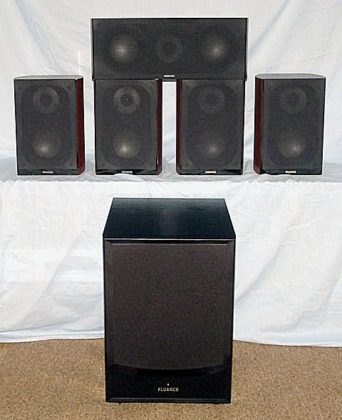 Fluance XL Series 5.1 Home Theater Speaker System - Photo - Front View - Grills On