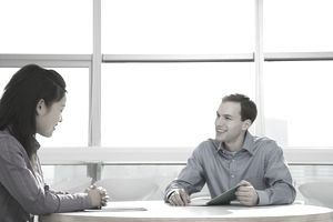 Businessman discussing with a woman