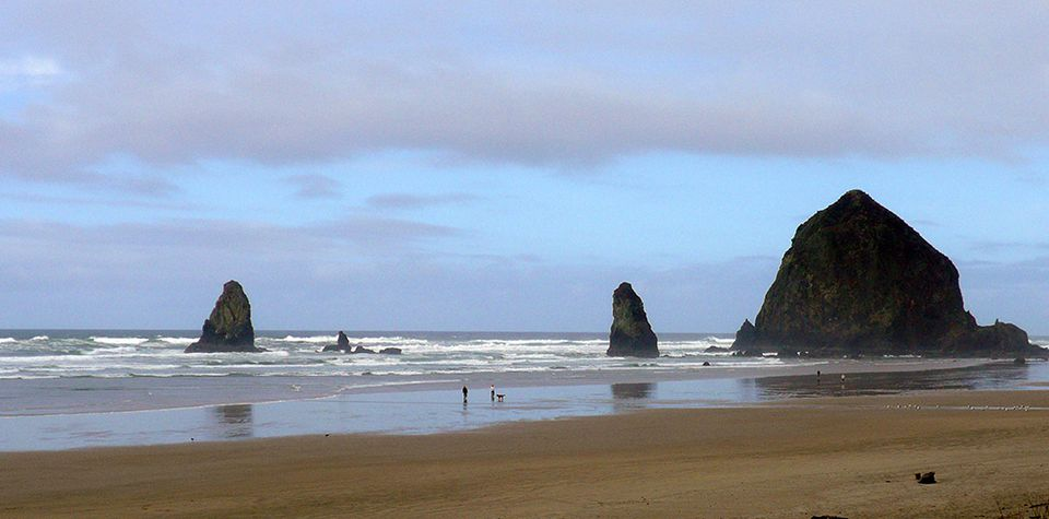 View of Haystack Rock from Cannon Beach