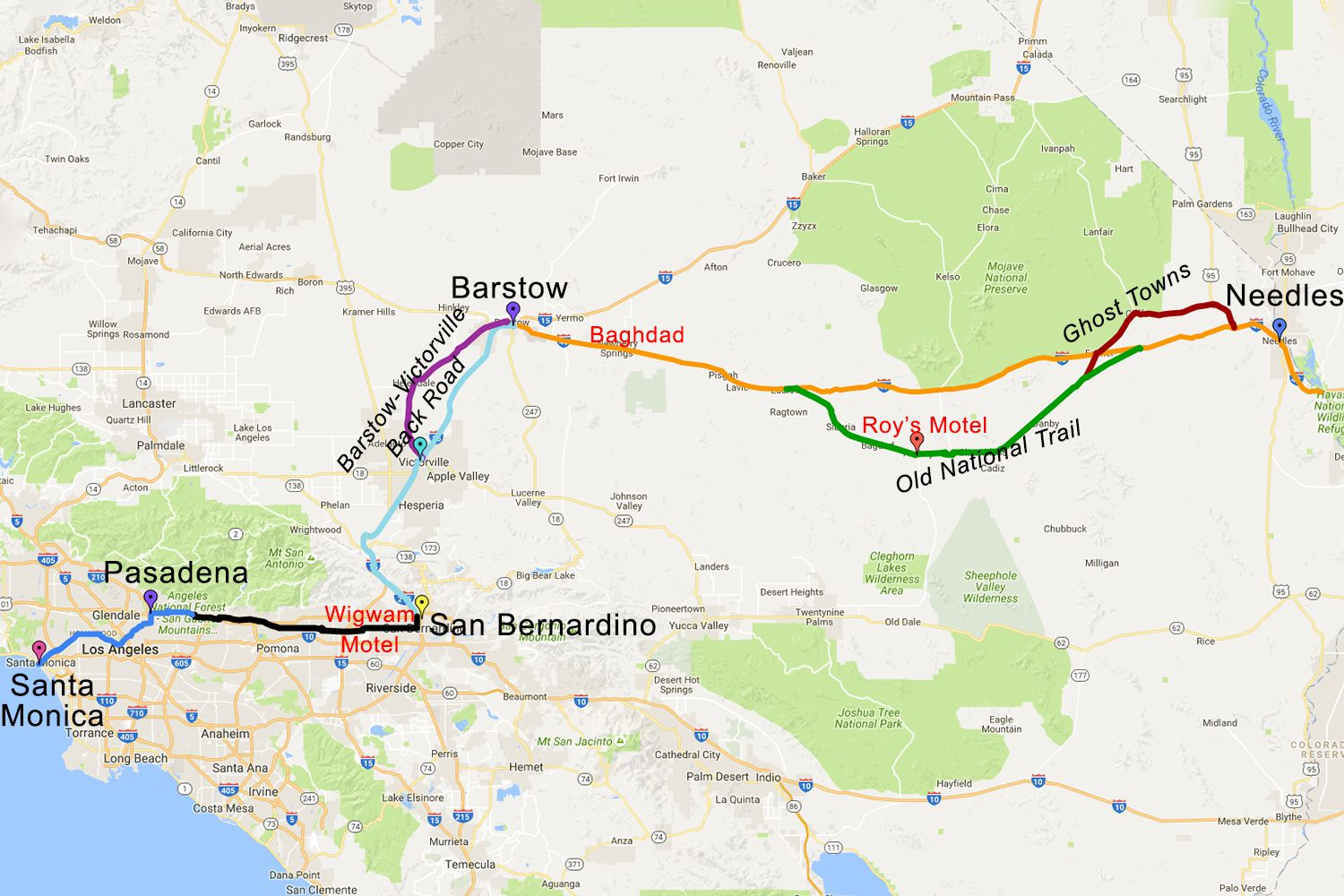 Route 66 in California Driving Tour and Road Trip