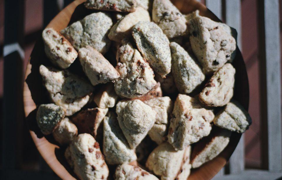 A bowl of cinnamon chip scones