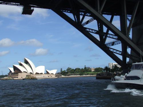 Sydney Opera House and Sydney Harbor Bridge in Sydney, Australia