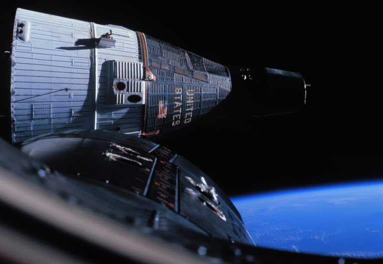 Photograph of Gemini 7 rendezvous with Gemini 6