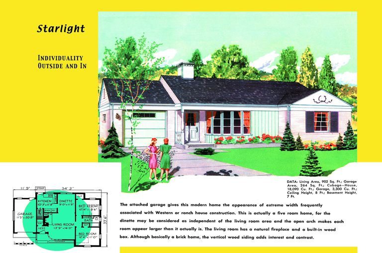 1950s floor plan and rendering of ranch style house called starlight with attached garage - 1950 Home Floor Plans