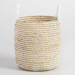 Small Striped Seagrass Bianca Tote Basket
