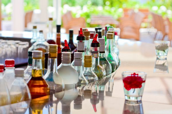 Bottles of alcohol at the bar