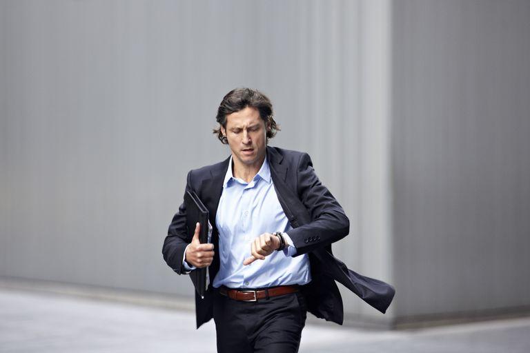 business man running late