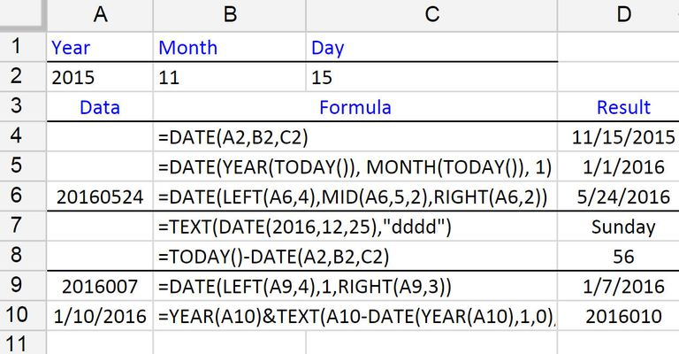 Using the DATE Function in Date Formulas in Google Spreadsheets