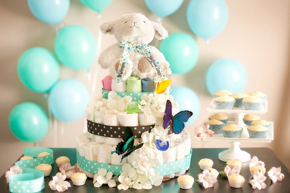 An adorable diaper 'cake' at a baby shower
