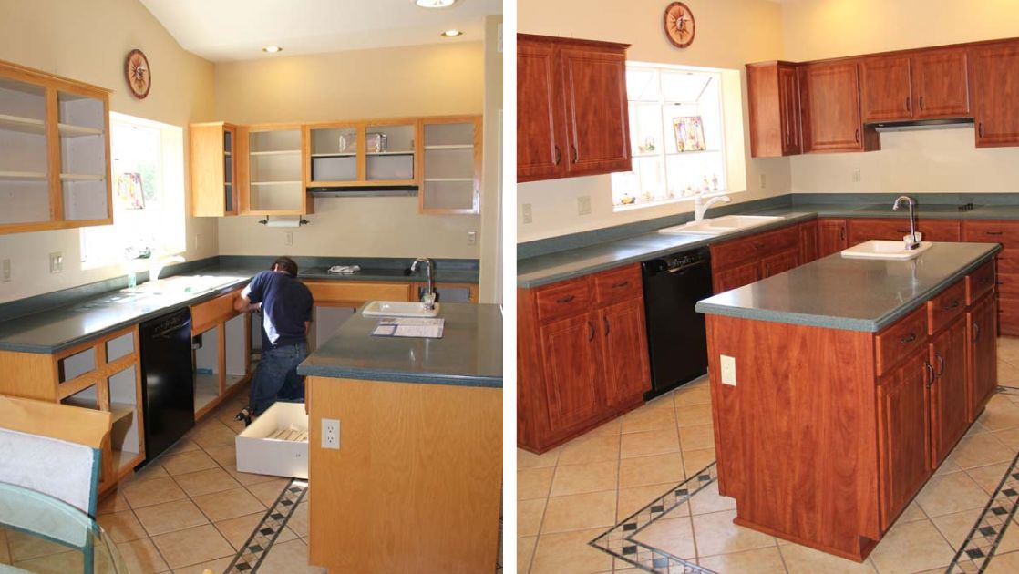 kitchen cabinets refinishing before cabinet custom refacing cost redooring