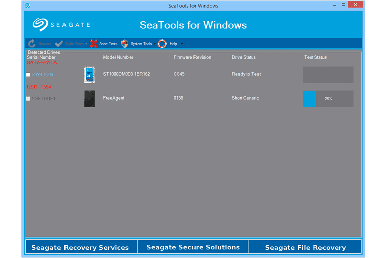 Screenshot of Seagate SeaTools for Windows in Windows 8