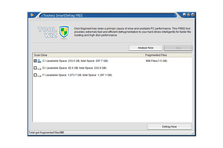 Screenshot of Toolwiz SmartDefrag