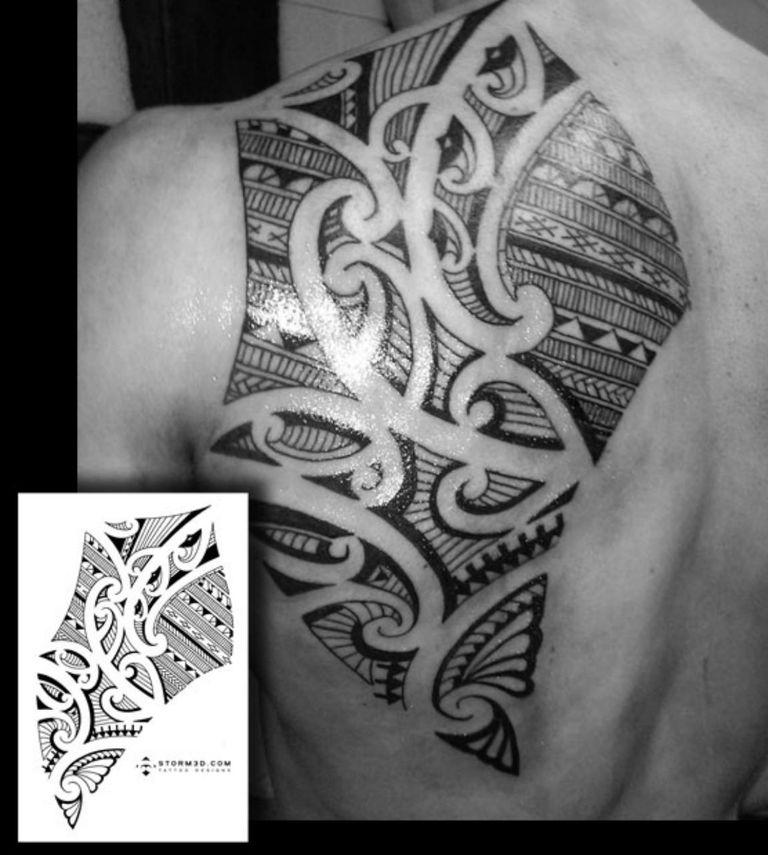 A custom back/shoulderblade tattoo design