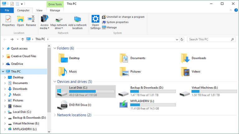 Screenshot of the This PC area of Windows Explorer in Windows 10, once place to view a hard drive's free space