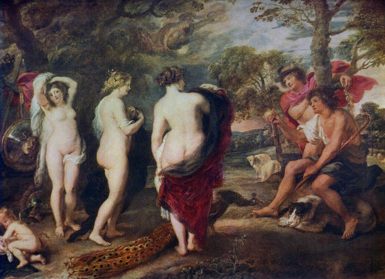 Judgment of Paris', c1635-1638, (1912). A colour print of Rubens' painting, from Famous Paintings with an introduction by Gilbert Chesterton