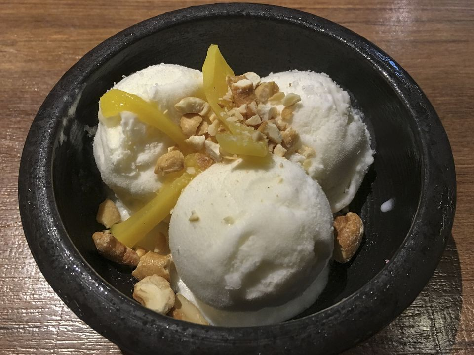 Coconut Ice Cream with Tropic Fruit and Nuts