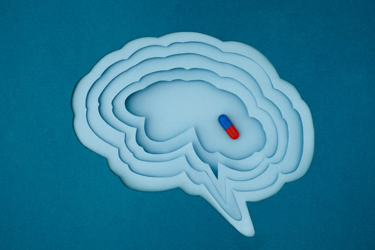 Pill inside of brain cutout