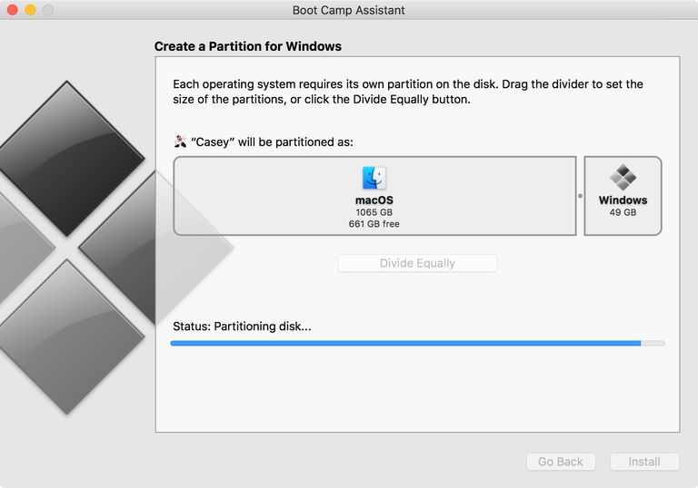 Boot Camp Assistant partitioning a Mac's startup drive