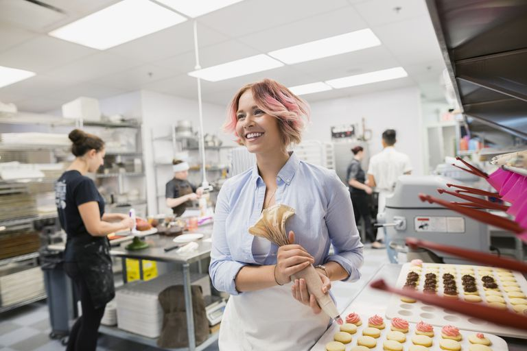 Small business owner making pastries