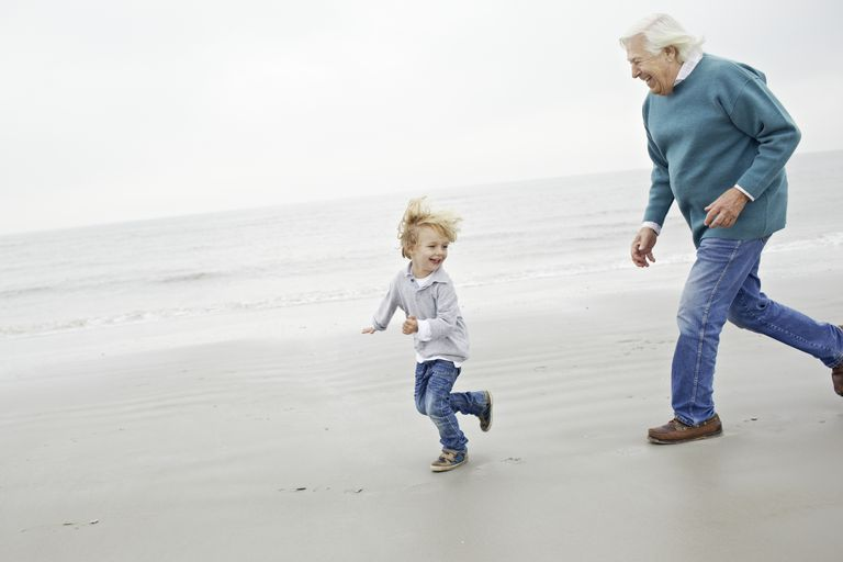 Grandfather chasing grandson