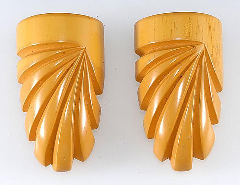 Pair of Carved Bakelite Dress Clips