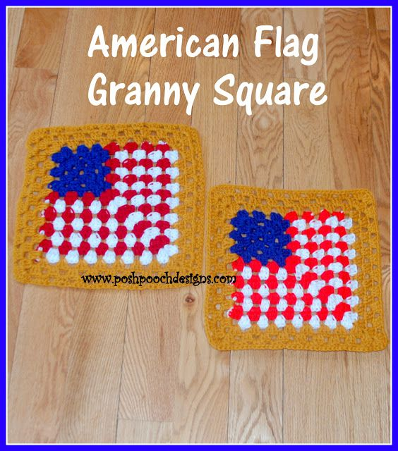 "12"" Granny Square Flag Free Crochet Pattern"