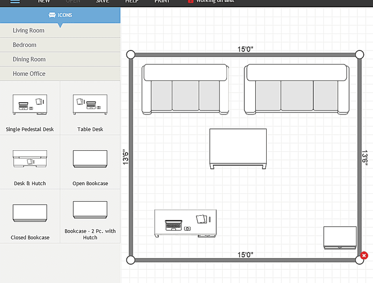Screenshot of a room designed using Plan Your Room