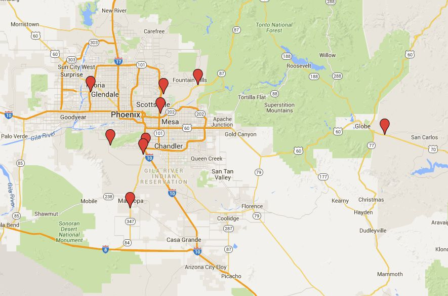Phoenix, AZ Casinos Map