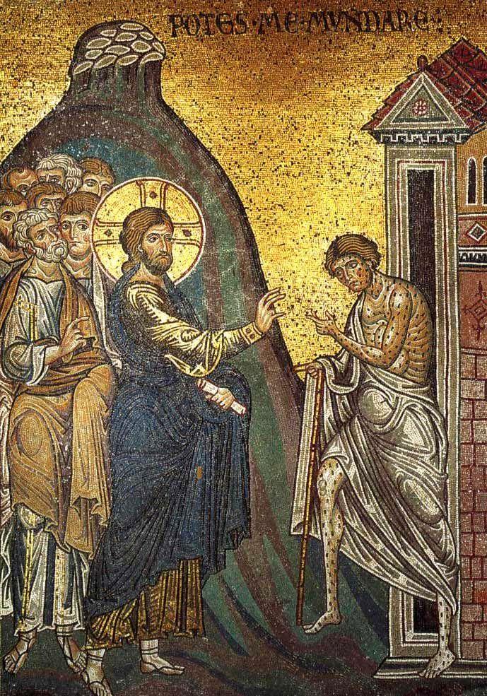 Jesús sana a un leproso.