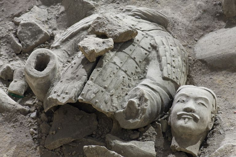 Broken terracotta soldier at Qin Shi Huangdi Tomb