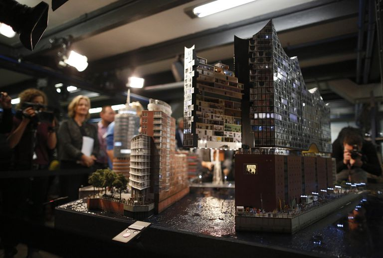 A miniature version of the Elbe Philharmonic Hall on November 13, 2013 in Hamburg, Germany. The miniature version required a year and 10,000 work hours to complete.