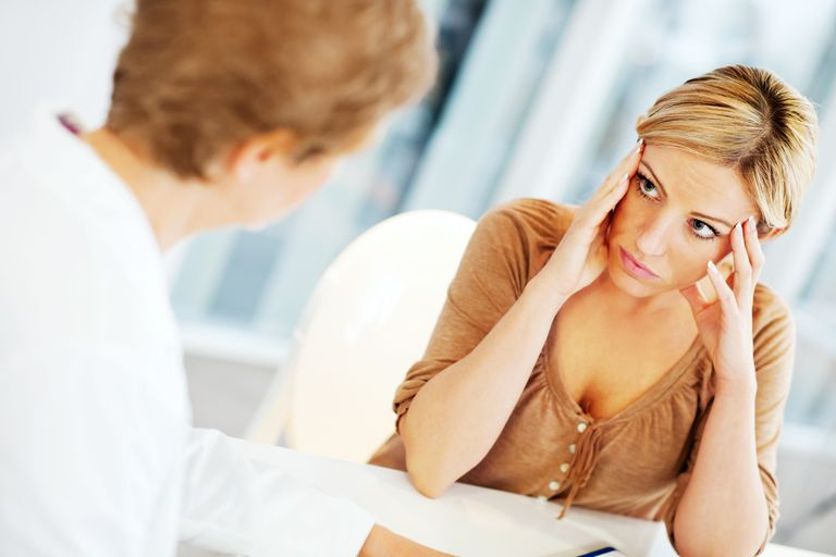 Worried woman visiting a psychologist