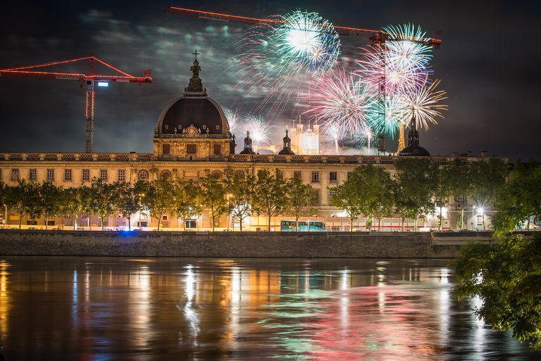 14th July 2016 fireworks Bastille Day celebration in Lyon, France