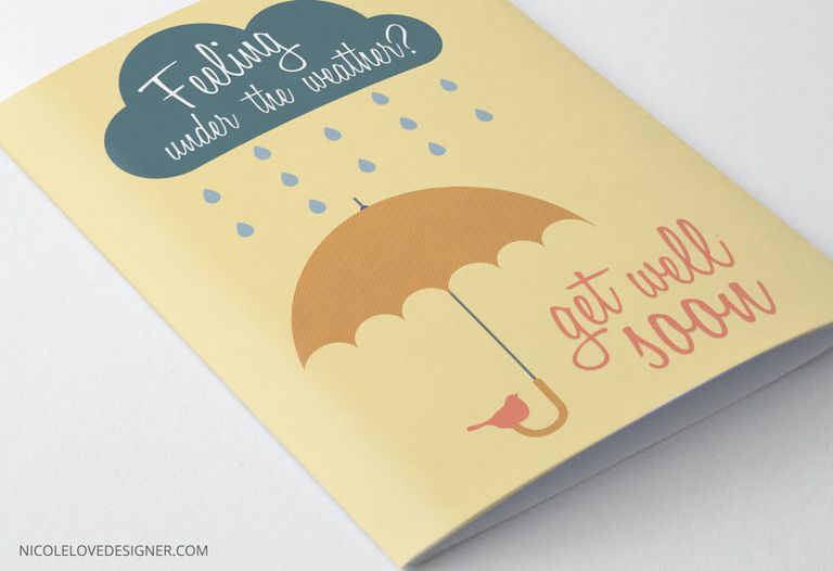 An orange, blue, and pink get well card with a rain shower and umbrellas on it.